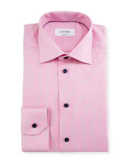 Eton Contemporary-Fit Houndstooth Dress Shirt, Pink