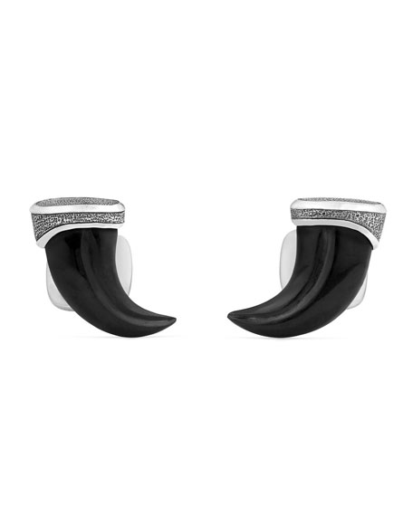 David Yurman Onyx & Sterling Silver Claw Cuff Links