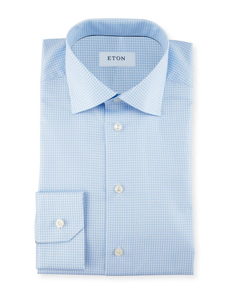 Image 1 of 2: Contemporary-Fit Gingham Check Dress Shirt