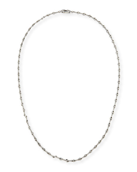 "Men's Sterling Silver Continuance Cable Necklace, 25.8""L"