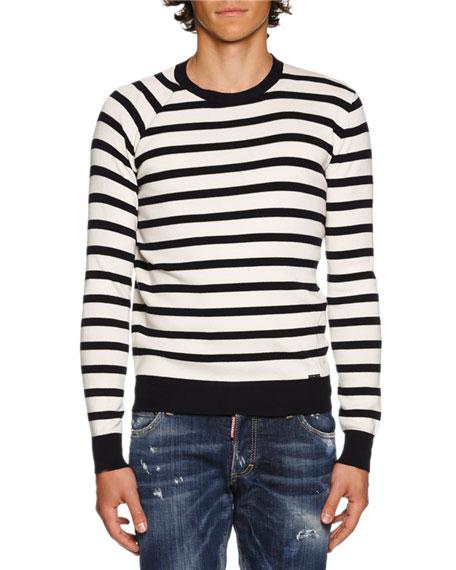 Striped Crewneck Sweater, Navy/White