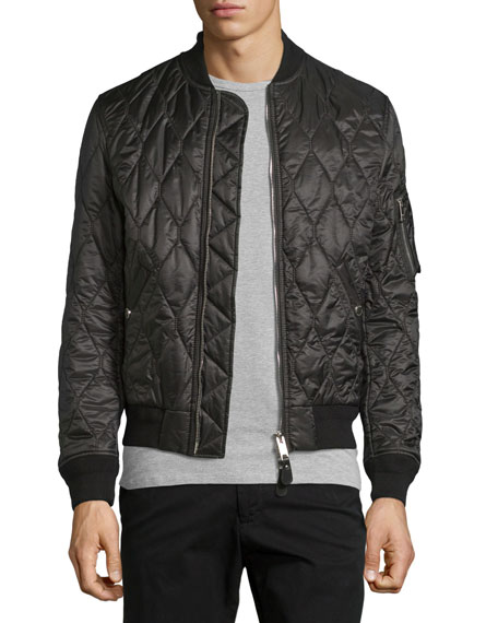 Burberry Grandy Lightweight Quilted Bomber Jacket Black Neiman Marcus