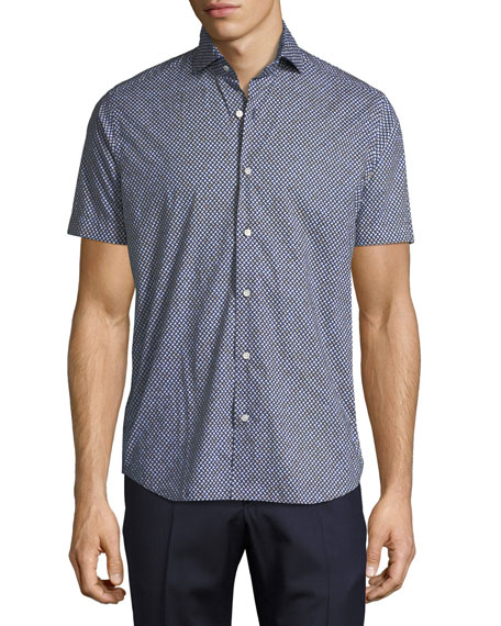 Neiman Marcus Geo-Print Sport Shirt, Navy