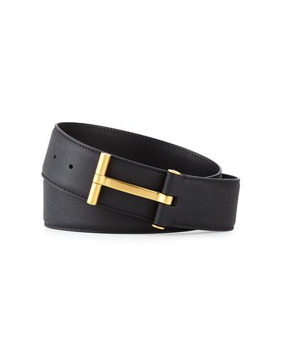 T-Buckle Calf Leather Belt