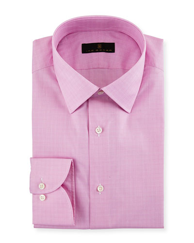 Gold Label Micro-Glen Plaid Dress Shirt, Bright Pink