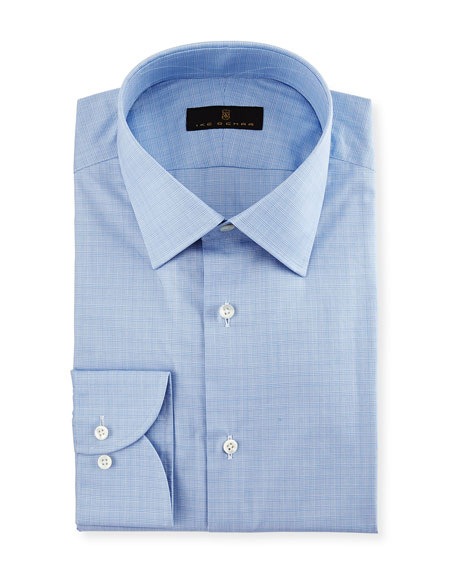 Gold Label Micro-Glen Plaid Dress Shirt, Blue