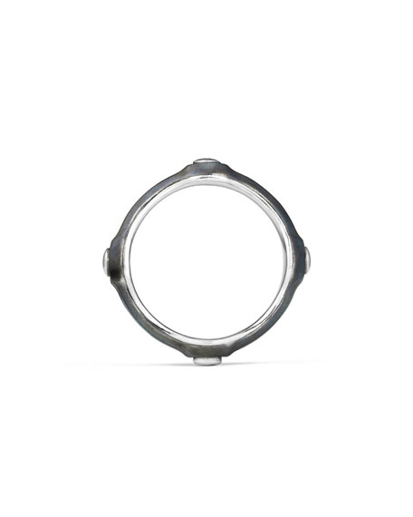 Men's 8mm Sterling Silver & Stainless Steel Band Ring