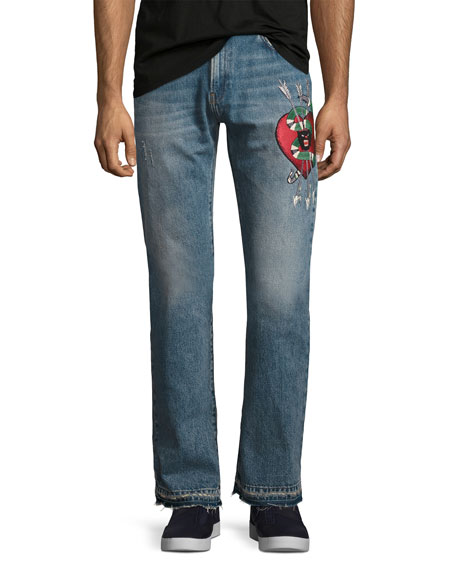 Gucci Denim Straight Pants w/Embroidery, Blue Stone Bleach