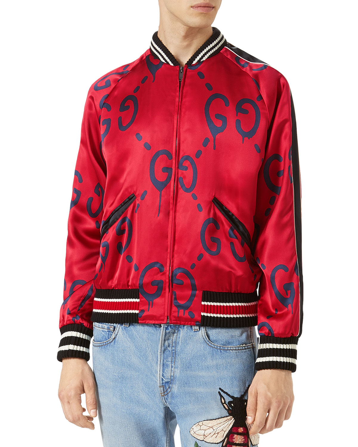 c296c9b4 GucciGhost Bomber Jacket, Red