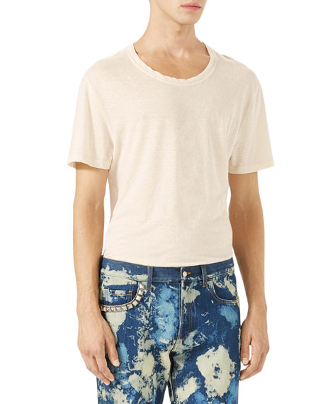 Gucci Cotton-Linen T-Shirt w/Embroidery, White