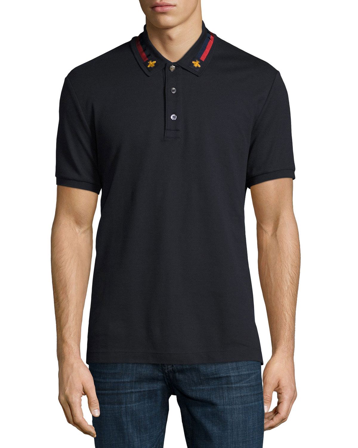 8d257029 Gucci Cotton Polo w/Bee Web, Navy | Neiman Marcus