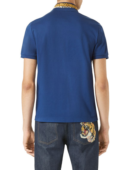 Cotton Polo w/Tiger Embroidery