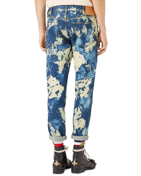 Bleached Denim Punk Pants, Indigo