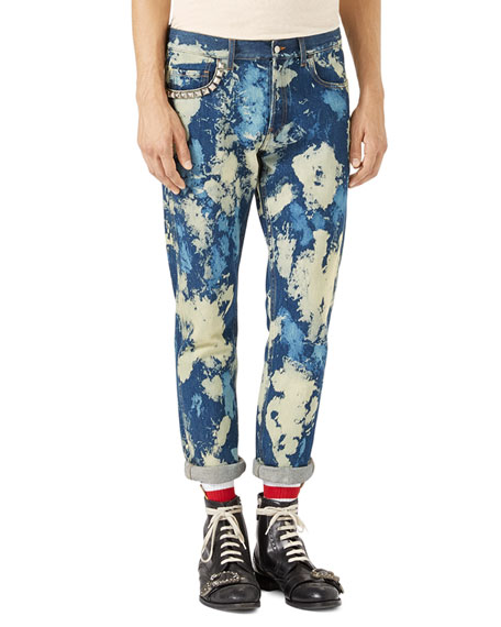 Gucci Bleached Denim Punk Pants, Indigo