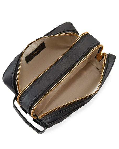 Double-Zip Leather Toiletry Case