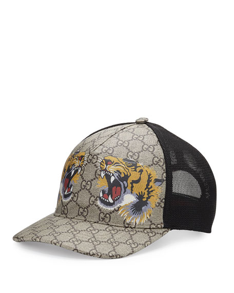 Gucci Tigers-Print GG Supreme Baseball Hat, Dark Brown/Black