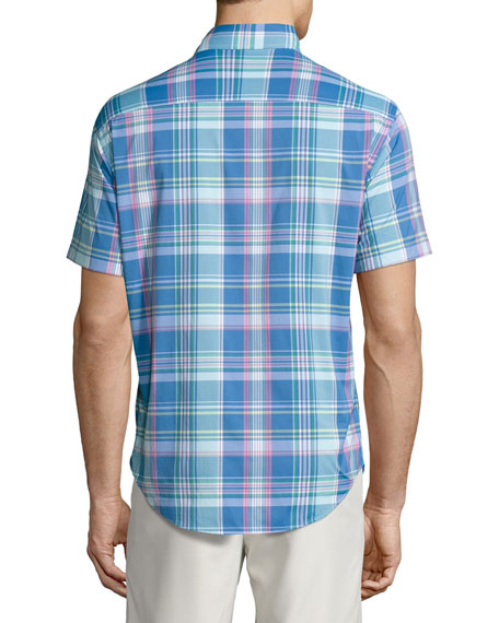 Colt Performance Plaid Short-Sleeve Shirt, Blue