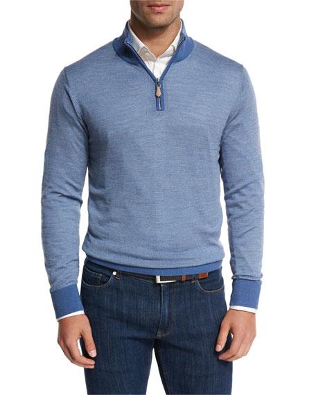 Collection Merino-Silk-Cashmere Birdseye Quarter-Zip Sweater