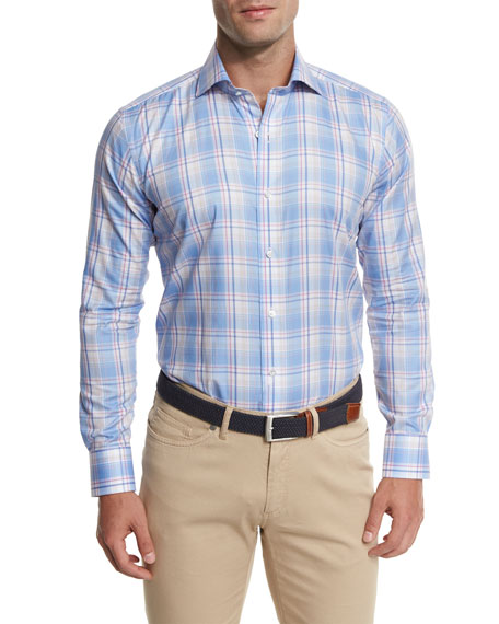 Peninsula Plaid Sport Shirt, Light Blue