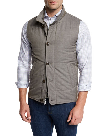 Peter Millar Caravan Quilted Wool Vest, Brown