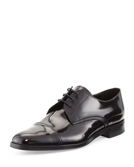 Prada Polished Leather Derby Shoe, Black