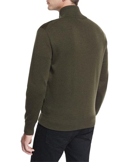 Suede-Front Merino Wool Jacket, Olive