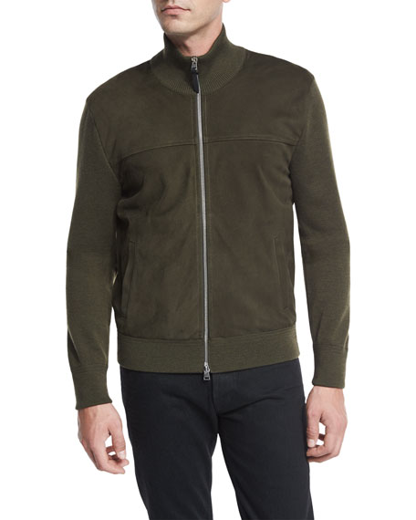Suede-Front Merino Wool Jacket, Olive