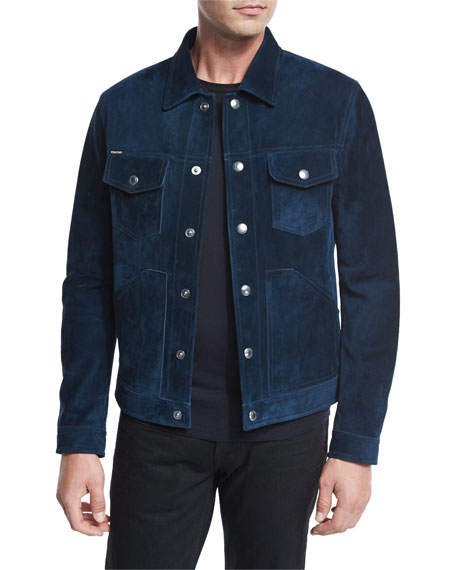 Suede Utility Jacket, Bright Azzure