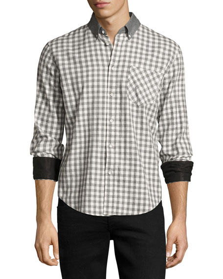 Yokohama Slim-Fit Check Flannel Shirt, White/Gray