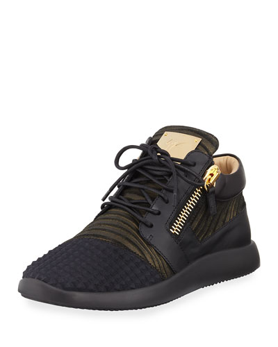 Giuseppe Zanotti Men's Metallic Neoprene & Leather Trainer Sneaker