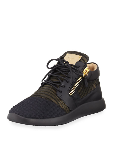 Giuseppe Zanotti Leather & Knit Low-Top Sneakers