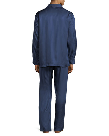 Derek Rose Bengal-Stripe Silk Satin Pajamas