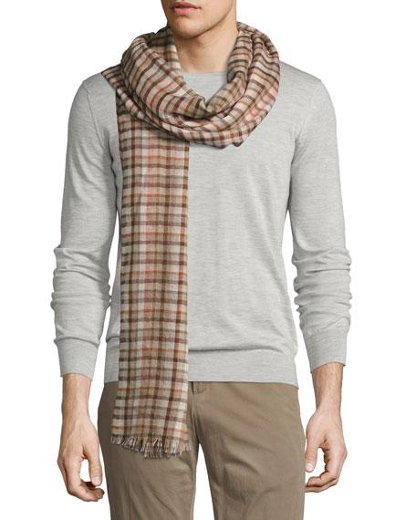 Regent Check Cashmere-Silk Scarf