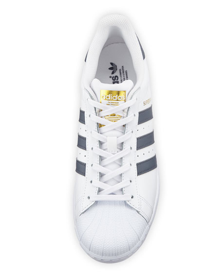 Men's Superstar Foundation Leather Sneaker, White/Gold