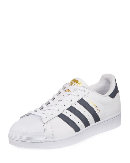Adidas Men's Superstar Foundation Leather Sneaker, White/Gold