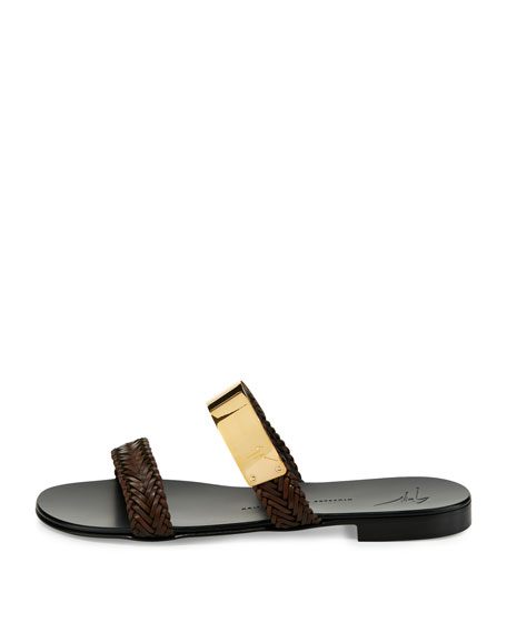 Men's Braided Leather Slide Sandal w/Golden Bar, Brown