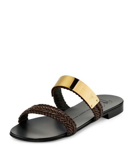 Men's Braided Leather Slide Sandal w/Golden Bar, Brown