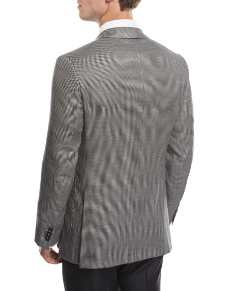 Check Two-Button Blazer, Black/White