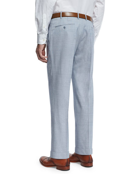 End-on-End Super 120s Wool Trousers, Pale Navy/White