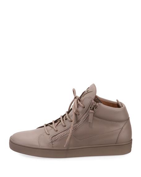 Men's Tonal Leather Mid-Top Sneaker, Black