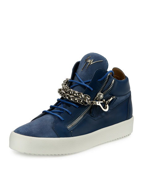 Giuseppe Zanotti Men's Suede & Leather Mid-Top Sneakers