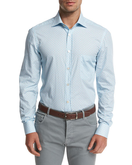 Mini Floral-Geometric Dress Shirt, Light Blue