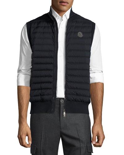 Rib-Trim Quilted Vest, Black