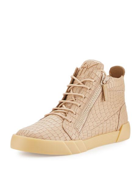 Giuseppe Zanotti Men's Croc-Embossed Leather High-Top Sneaker