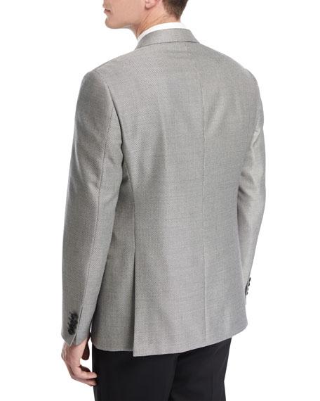 Textured Peak-Lapel Dinner Jacket, Black/White