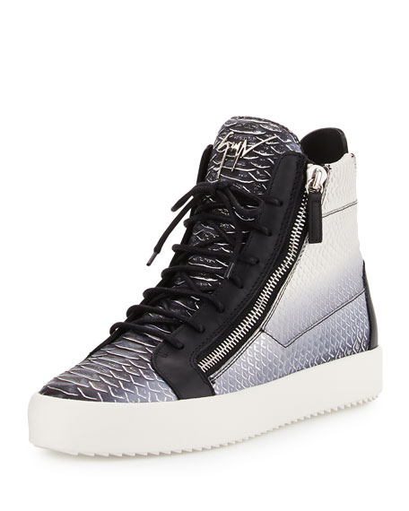 Giuseppe Zanotti Men's Metallic Snake-Print High-Top Sneaker,
