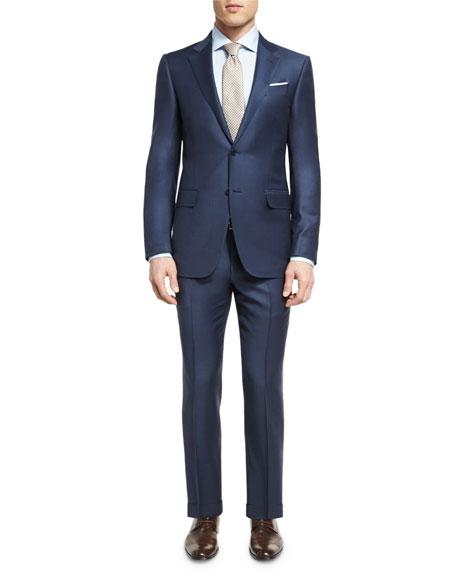 Tonal Check Two-Piece Suit, Blue