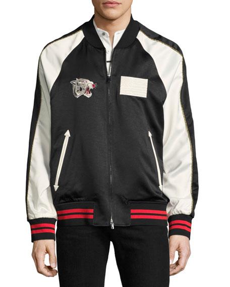 Paradise Leopard Reversible Souvenir Bomber Jacket, Black/White
