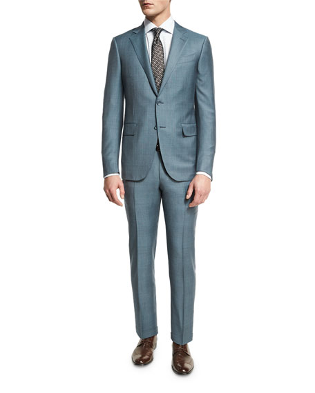 Trofeo® Tonal Plaid Two-Piece Suit, Light Green