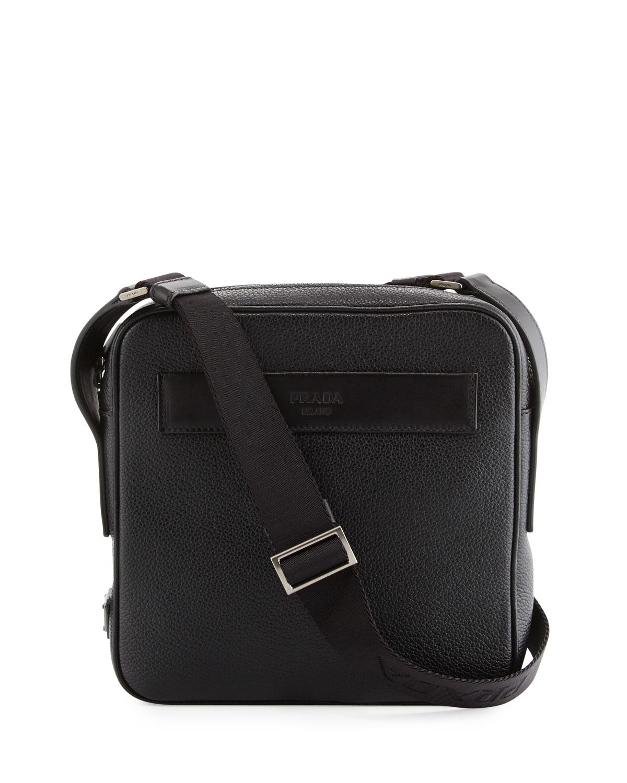 429d823236a3 Prada Men's Leather Crossbody Messenger Bag, Black | Neiman Marcus